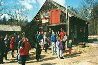 A group gathers to begin a tour of our Sugar House