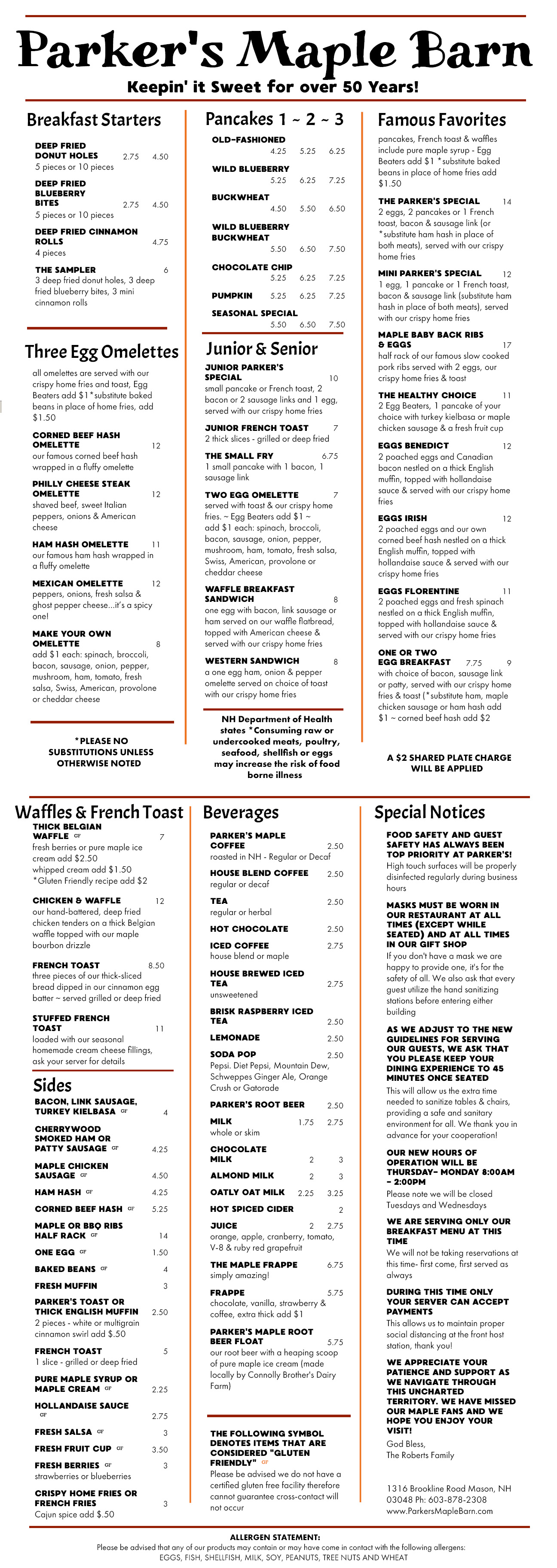 Parker`s Maple Barn Breakfast Menu