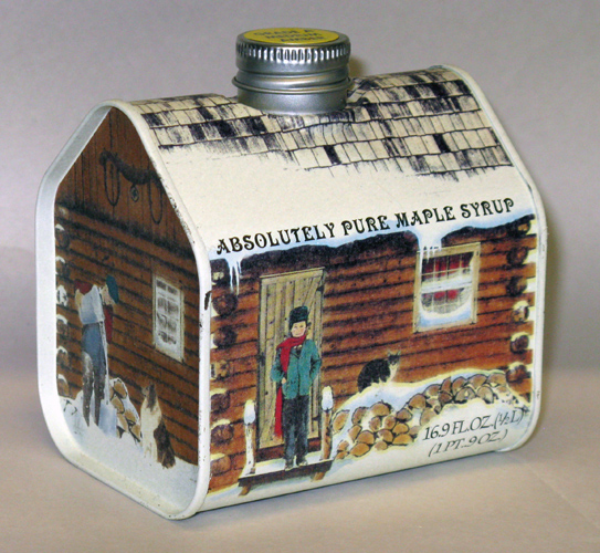 Tin#7 - LOG CABIN Tin Container - Pure Maple Syrup - 16.9 ounces