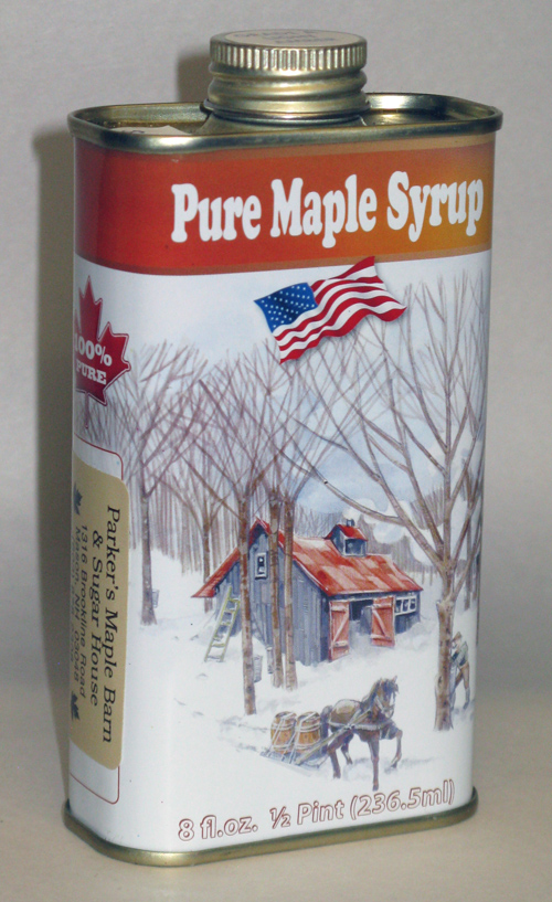 Tin#4 - Tin Container - Pure Maple Syrup - Half Pint - 8 oz